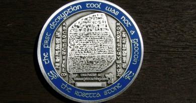 Onze geocoin: Rosetta stone